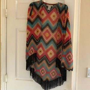 Fashionable Tribal Pattern Multi colored Cardigan